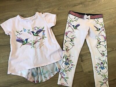 Ted Baker Girls Outfit Leggings And Top, Pink, Age 4-5