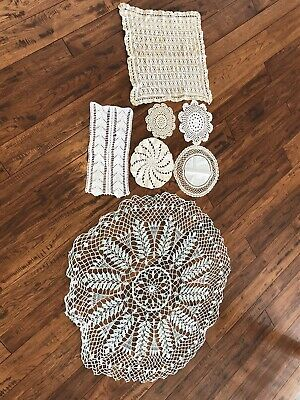 7 Crochet Dollies, Cream White Green Set