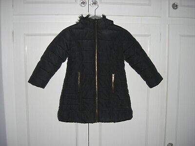 GIRLS NEXT - BLACK HOODED COAT/JACKET FAUX FUR LINED/TRIM PADDED QUILTED - 4 yrs
