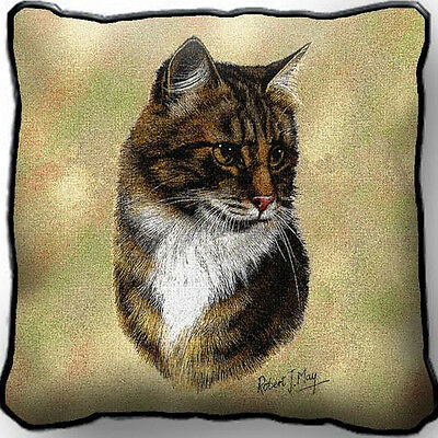 "17"" x 17"" Pillow Cover - Brown Tabby Cat 1949"