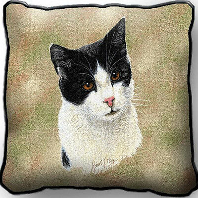 "17"" x 17"" Pillow Cover - Black & White Cat 1958"