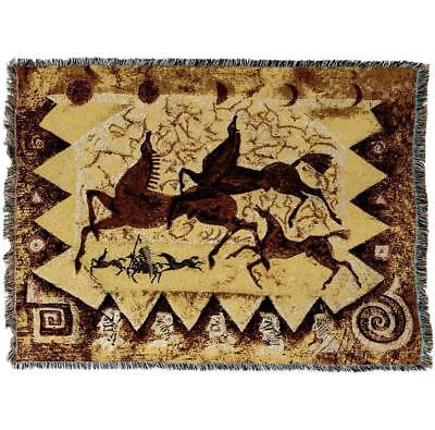 Throw Tapestry Afghan - Oglalas Story Petroglyph 1909