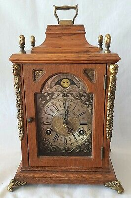 Warmink Mantel Clock Dutch Shelf Moon Dial 8 Day Key Wind Bell Strike Vintage