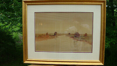 Louis Kinney Harlow Watercolor Painting River Scene With Haystacks Framed Matted