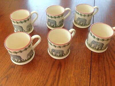 set of six Brixton Pottery spongware mugs -  elephants