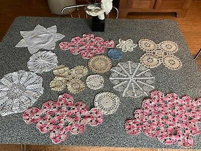 Mixed Lot Of 14 Vintage Crochet Doilies