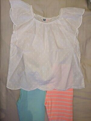 Girls Outfit Age 4-5 Years. Capri Leggings X2 & Lovely White Top. *Summer*