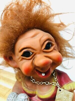 Vintage 1960s Heico Nodding Troll Barmaid With Necklace Bobblehead