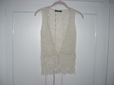 NEW GEORGE ASDA - GIRLS GILET/JACKET CREAM KNIT/LACE/FRINGE - 6-7yrs 116-122cm