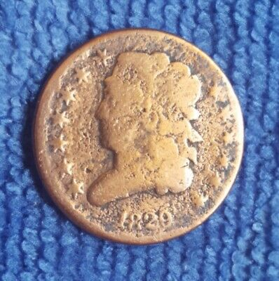 1829 US Classic Head Half Cent Coin 1/2 c Nice Cleaned 191 Years Old Copper Coin
