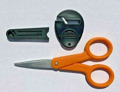 "Fiskars 5"" Micro-Tip Sewing Detail Scissors with Plastic Sheath & Sharpener NEW"