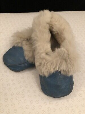 Rare vintage 1950's Babies Leather Slippers With Rabbit Fur Trim
