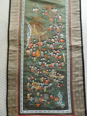 Chinese 100%Hand embroidered Peking Embroidery Art:100kids playing screen