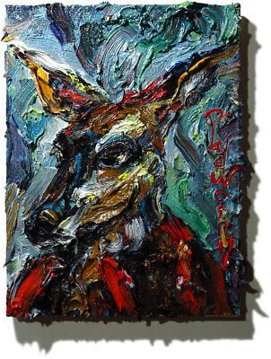 Fawn Baby Deer ART█SIGNED ABSTRACT MODERN ORIGINAL█OIL PAINTING█VINTAGE█ANIMAL A