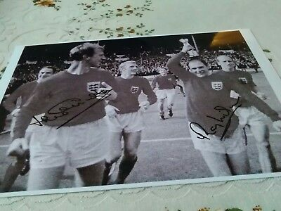 signed football photo by jack charlton and ray wilson 1966 world cup