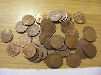 A Collection of 40 new Half Penny Coins - Dates range 1971 - 1980's