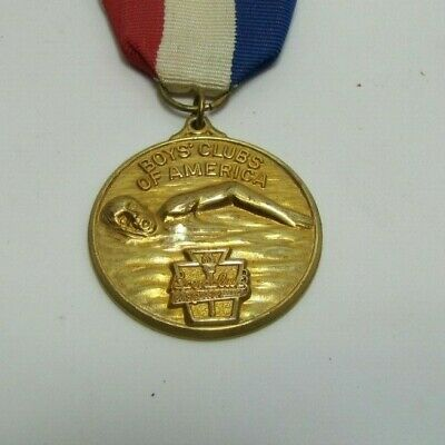 Boys Club Of America Swimming Sports Award Medallion Red White Blue Ribbon *A2Ps