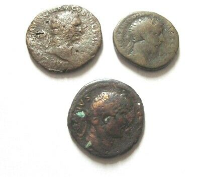A lot of 3 x Dupondius/Asse from Domitian, Marc Aurel and Hadrian
