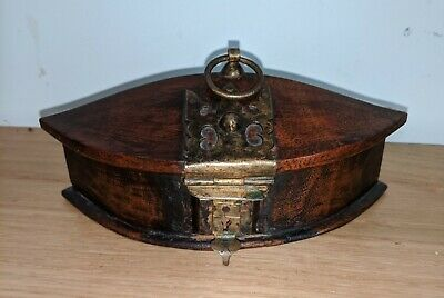 19th Century Colonial Wooden Spice Box Original Brass Fittings