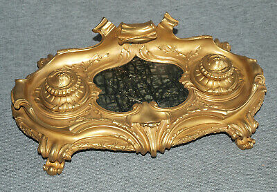Lovely Quality Vintage Gilt Metal or Ormolu Bronze & Marble Inkwell Desk Stand