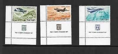 Israel - 1967 - Independence Day issue - 3 values - singles + tabs - unmounted