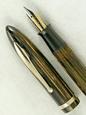 VINTAGE BIG 30s SHEAFFER BROWN STRIPED FULL SIZE BALANCE FOUNTAIN PEN ~ RESTORED