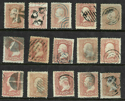 Sc #65 Shades Fancy Cancels SON Collection 3 Cent Washington 1861-62 US 86B51