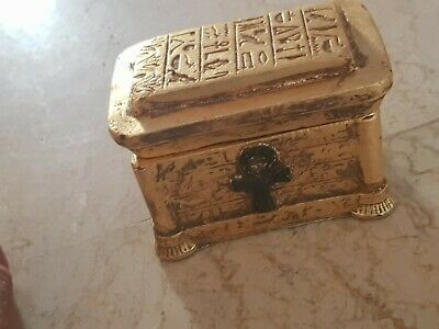 Rare Antique Ancient Egyptian jewelry Box Scarab Luck Gold jewelry 1520-1450BC