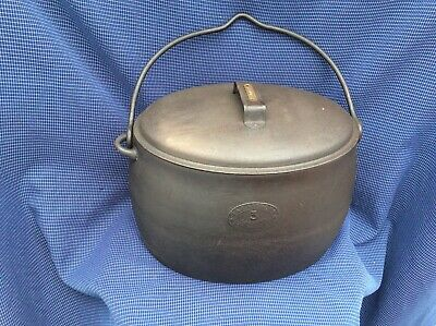 Antique Siddons 3 Gallon Cast IRon Romany Gypsy Pot pan With Lid