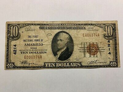 $10 The First National Bank Of Amarillo Texas 1929 National Currency Ty1 #4214