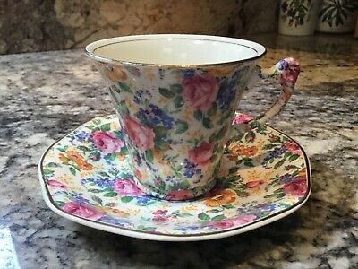 Vintage Kent CHINTZ  ROSALYNDA   CUP and SAUCER. Pink Roses !