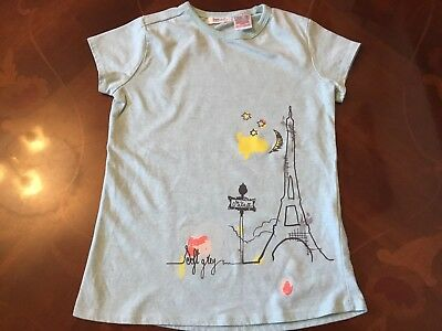 Girls SOFT GREY Pale Aqua Paris Print Top Age 8 Yrs