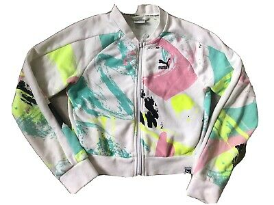 PUMA girls Cropped Tracksuit Zip Up Sports Top Age 9 - 10 White Pink Green Multi