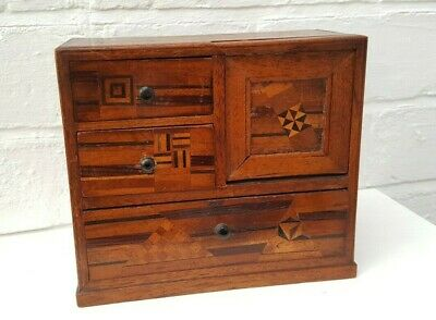 Antique Miniature Marquetry Chest of Drawers with Secret compartment Japanese ?