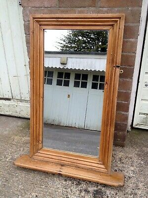 Nice Vintage, Possibly Antique, Wooden Hall Mirror with Shelf, Framed, Brackets