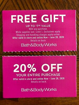 2- Bath & Body Works Coupons- Item Of Choice Up To $7.50 & 20% Off Entire Order-