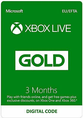 3 Month GOLD XBOX LIVE MEMBERSHIP XBOX 360 GLOBAL KEY REGION FREE QUICK DELIVERY