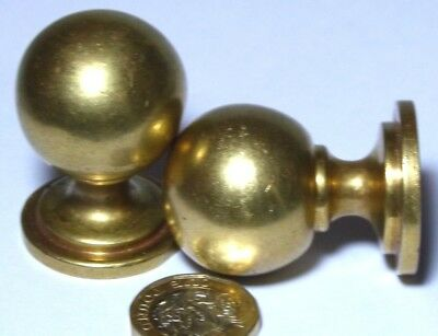 OLD PAIR HEAVY VINTAGE BRASS CUPBOARD DOOR HANDLES KNOBS ART DECO ref90