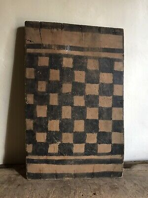 BIG Old Antique Handmade Wooden Game Board Old Black Hand Painted AAFA Checker