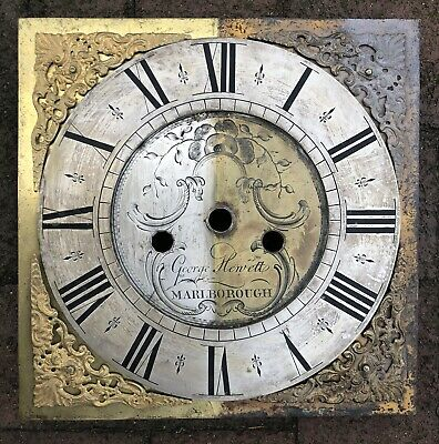 "Earlier 18th century 10"" Brass Clock Dial By George Hewitt Of Marlborough"