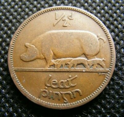 Irish 1937 Half Penny Coin Old Ireland 1/2d Scarce Free State Issue Pig Piglets