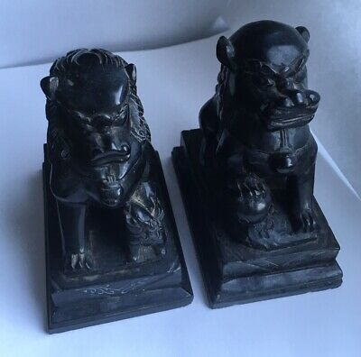 Antique Chinese Foo Dogs Lions Carved Black Stone Figurines
