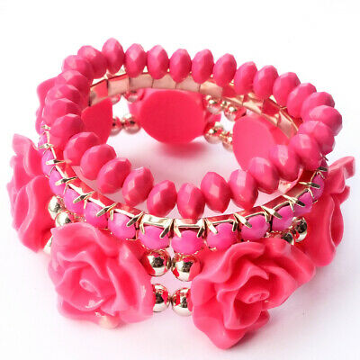 New 3pcs/Set Rose Pink Multilayer Rose Flower Acrylic Bracelet Bangle Women Gift
