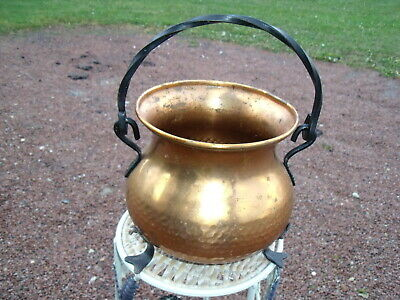 Antique french Copper Bowl/Planter with Wrought Iron Handle & Three Legs