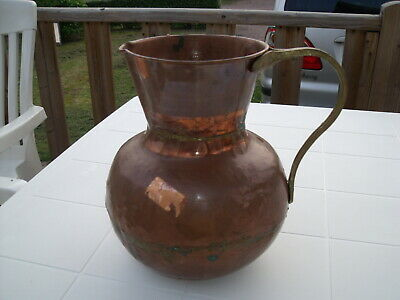 Antique French Solid Copper Jug Handmade with Solid Brass Handle