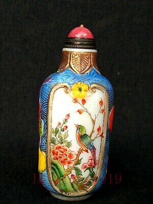 Collection China Glaze Hand Carving Painting Flowers Birds Antique Snuff Bottle