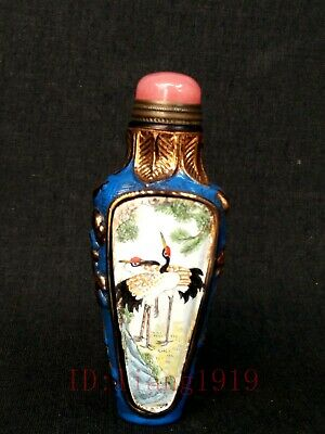 Old Collected China Glaze Hand Carving Painting Flowers Birds Crane Snuff Bottle
