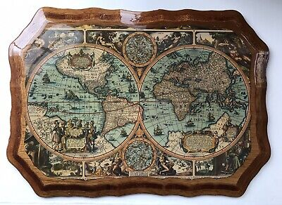 "Wall Hanging Old World Map - Waxed On Wood | Length 15"" Width 11"""