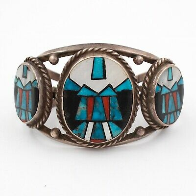 Vintage Native American Turquoise Abalone Coral & Silver Cuff Bracelet! Hopi?