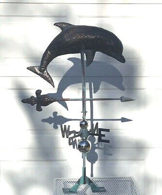 LARGE LEAPING DOLPHIN Weather vane AGED COPPER FINISH- FULLY FUNCTIONAL- NEW